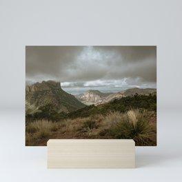 Big Bend Cloudy Mountaintop View - Lost Mine Trail - Landscape Photography Mini Art Print