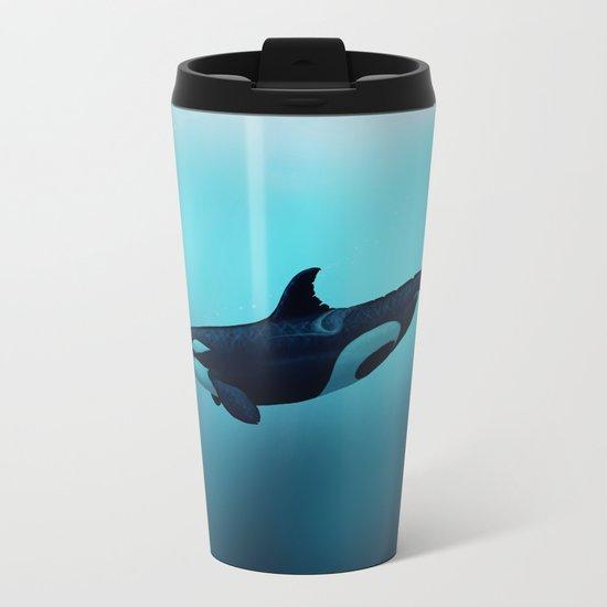 """Lost in Serenity"" by Amber Marine ~ Orca / Killer Whale Art, (c) 2015 Metal Travel Mug"