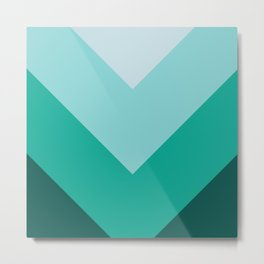 Green Teal Chevron Stripes Metal Print
