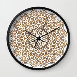 16 Fold Mandala in Orange Wall Clock