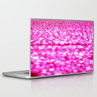 glitter Laptop & iPad Skins featuring Fuchsia Pink Glitter Sparkle by Whimsy Romance & Fun
