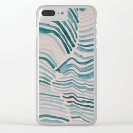 Trippy Turquoise Waves Clear iPhone Case