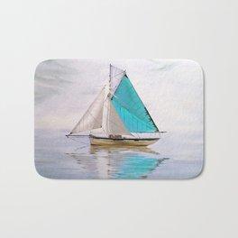 blue boat Bath Mat