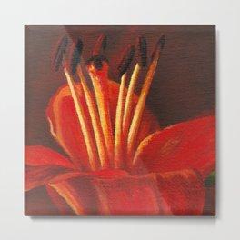 Orange lily pistil Metal Print