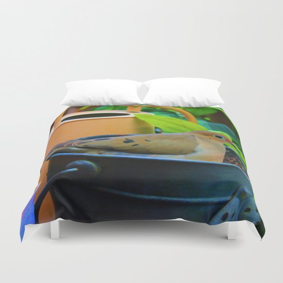 A Bird in a Bucket Duvet Cover
