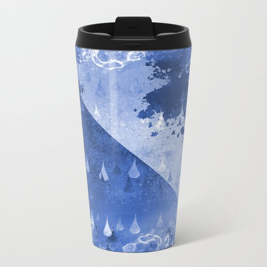 Abstract Blue Rain Drops Design Metal Travel Mug