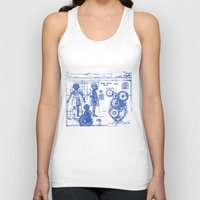 blueprint Tank Tops featuring MY LITTLE SISTER BLUEPRINT by Sofia Youshi