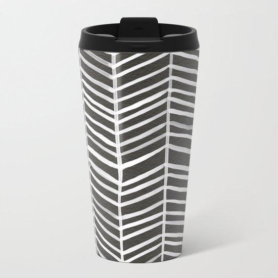 Herringbone – Black & White Metal Travel Mug