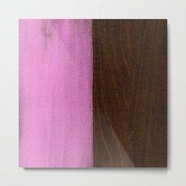 Pink Paint on Wood Metal Print