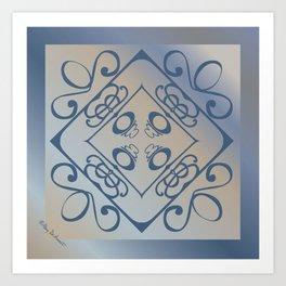 Shalom Mandala - Blue Beige Art Print