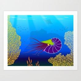 Paper Craft Nautilus Art Print