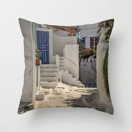 Eva's Cafe Mykonos Throw Pillow