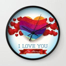 Love heart in blue Wall Clock