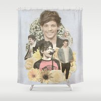 louis tomlinson Shower Curtains featuring Louis Tomlinson + Flowers  by Ladsandstuff