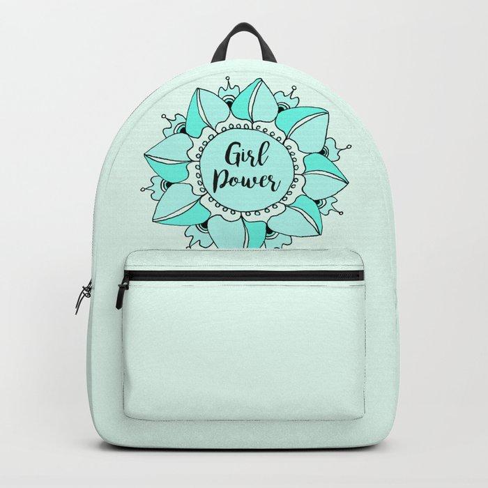 Girl Power Turquoise Aqua Mandala Backpack