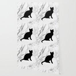 Marble black cat Wallpaper