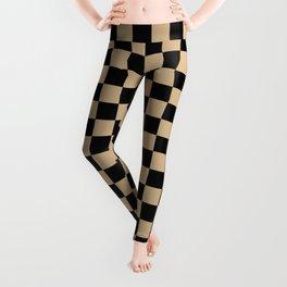 Black and Tan Brown Checkerboard Leggings