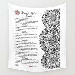 """Dream It, Believe it & Live it"" Mandala Print Wall Tapestry"