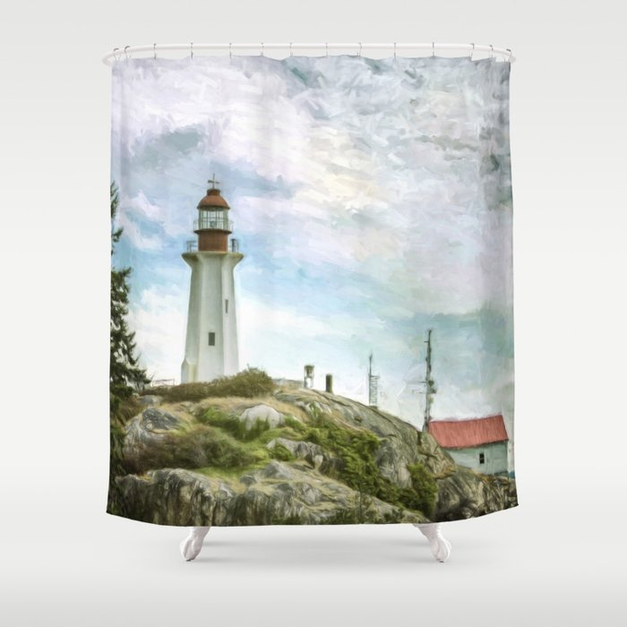 Lighthouse Shower Curtain By Augustlandscapes