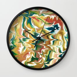 Liquid Marble // Navy Blue, Green, Red, Amber Yellow Wall Clock