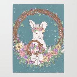Watercolor Easter Bunny Wreath Art Poster