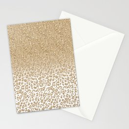 Trendy Gold Glitter and Leopard Print Gradient Design Stationery Cards