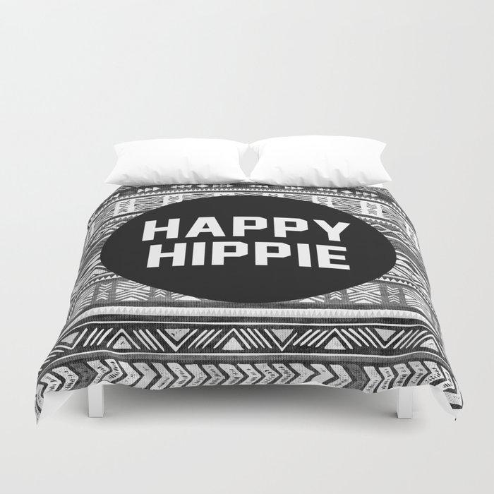 Happy hippie - b&w Duvet Cover