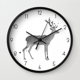 Deer. Watercolor illustration on white. Wall Clock