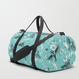 Flowers and Flight in Monochrome Teal Duffle Bag
