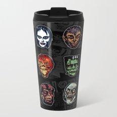 Horror Movie Monsters Masks (color) Metal Travel Mug