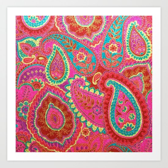 Floral Paisley Pattern 07 Art Print