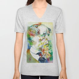 CHARLES DICKENS - watercolor portrait.2 Unisex V-Neck