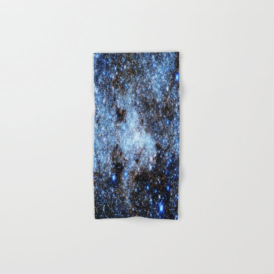 gAlaxY : Blue Sparkle Stars Hand & Bath Towel