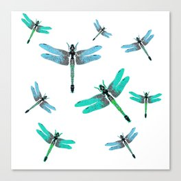"BLUE DRAGONFLIES ""SPRING SONG"" ART Canvas Print"