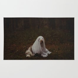 Portrait of a friendly ghost - Perfect fine art dog photography work for Halloween Rug