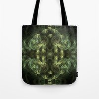green pattern Tote Bags featuring Green pattern by Armine Nersisian