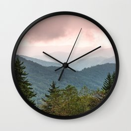 Great Smoky Mountain National Park Sunset Layers III - Nature Photography Wall Clock