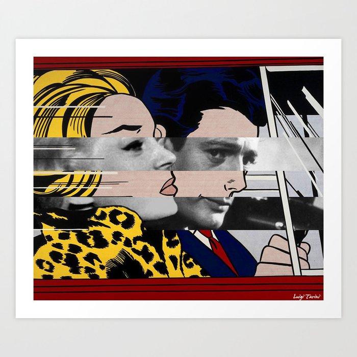 """Roy Lichtenstein's """"In the car"""" & Marcello Mastroianni with Anita Ekberg Art Print"""