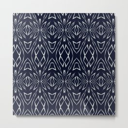 Geometric Art, Aztec Prints, Navy Blue, Boho Wall Art Metal Print