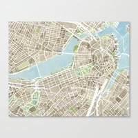 boston map Canvas Prints featuring Boston Sepia Watercolor Map by Anne E. McGraw