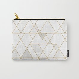Mod Triangles Gold and white Carry-All Pouch