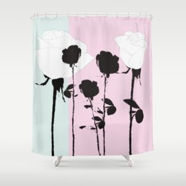 Roses with ink Shower Curtain