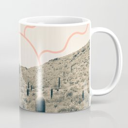 Wonder Rift // Abstract Vintage Mountains Summer Sun Surfer Beach Vibes Drawing Happy Wall Decor Coffee Mug