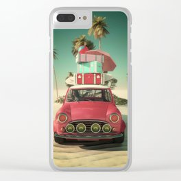 travel car in the beach Clear iPhone Case