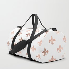 White & Rose Gold Royal Pattern Duffle Bag