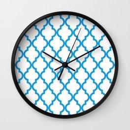 Moroccan Quatrefoil Pattern: Deep Sky Blue Wall Clock