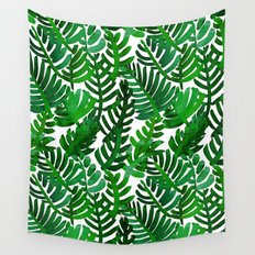Round Palm Green Wall Tapestry