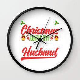 """""""First Christmas With My New Husband"""" Christmas Design For December 25th T-shirt Design Jesus Wall Clock"""