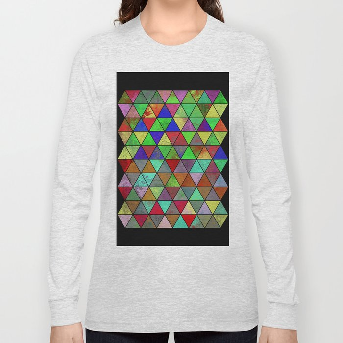 Textured Triangles 2 - Abstract, geometric, textured painting Long Sleeve T-shirt