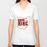 lebron V-neck T-shirts featuring Home of the King (White) by Denise Zavagno